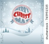 christmas background with retro ... | Shutterstock . vector #765951535