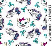 kids  cartoon seamless pattern. ... | Shutterstock .eps vector #765960955