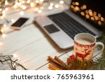 freelancer's working place at... | Shutterstock . vector #765963961