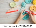 woman hands knitting crochet.... | Shutterstock . vector #765966355