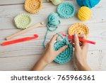 woman hands knitting crochet.... | Shutterstock . vector #765966361