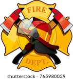 fire department badge with... | Shutterstock .eps vector #765980029