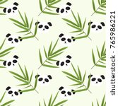 seamless pattern with panda ... | Shutterstock .eps vector #765986221