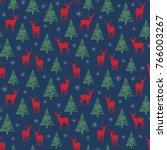 the pattern depicting deer in... | Shutterstock .eps vector #766003267