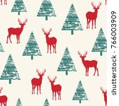 the pattern depicting deer in... | Shutterstock .eps vector #766003909