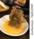 Small photo of yummy beef with eggs in Japanese style hotpot (shabu-shabu hotpot)