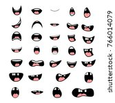 set of cartoon mouth poses for... | Shutterstock .eps vector #766014079