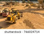heavy machinery in a gravel pit ... | Shutterstock . vector #766024714