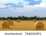 cloudy sky over a field with... | Shutterstock . vector #766026391