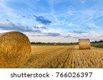 bright blue sky over a field of ... | Shutterstock . vector #766026397