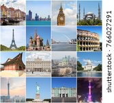 collage with landmarks of... | Shutterstock . vector #766027291