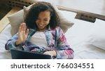 cheerful mixed race girl having ... | Shutterstock . vector #766034551