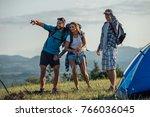 group of friends explore... | Shutterstock . vector #766036045