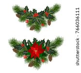 christmas decorations with... | Shutterstock .eps vector #766036111