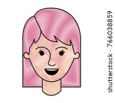 female face with mid lenght... | Shutterstock .eps vector #766038859