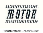 italic narrow slab serif font... | Shutterstock .eps vector #766043359