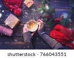 winter hot beverage female...   Shutterstock . vector #766043551