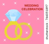 flat simple image with wedding...   Shutterstock .eps vector #766051897