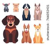cute cartoon doggies sitting... | Shutterstock . vector #766052431