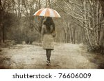 lonely girl walking at alley in ... | Shutterstock . vector #76606009