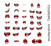 set of cartoon mouth for... | Shutterstock .eps vector #766060321