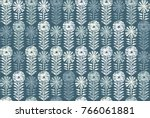 retro block print flowers stamp ... | Shutterstock .eps vector #766061881