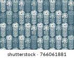 retro block print flowers stamp ... | Shutterstock .eps vector #766061881