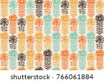 retro block print flowers stamp ... | Shutterstock .eps vector #766061884