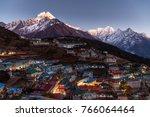namche bazaar aerial view ... | Shutterstock . vector #766064464