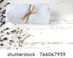 dry lavender flowers with soap  ... | Shutterstock . vector #766067959