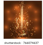 elegant golden guitar outline ... | Shutterstock .eps vector #766074637