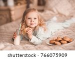sweet baby girl 3 4 year old... | Shutterstock . vector #766075909