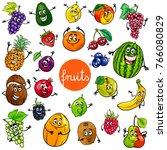 cartoon illustration of fruits... | Shutterstock . vector #766080829