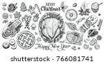 christmas dinning table  top... | Shutterstock .eps vector #766081741