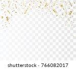 golden confetti isolated.... | Shutterstock .eps vector #766082017