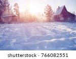 winter wonderland scene... | Shutterstock . vector #766082551