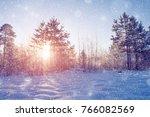 winter wonderland scene... | Shutterstock . vector #766082569