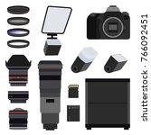 photo equipment set flat vector ... | Shutterstock .eps vector #766092451