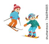 two girls in warm clothes... | Shutterstock .eps vector #766094005