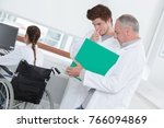 medical researcher holding a... | Shutterstock . vector #766094869