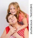 grandmother and granddaughter... | Shutterstock . vector #766101841