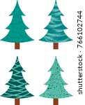 cartoon set of pine trees with... | Shutterstock .eps vector #766102744