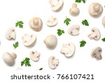 mushrooms with parsley isolated ... | Shutterstock . vector #766107421