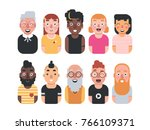 set of 10 avatar icons of... | Shutterstock .eps vector #766109371