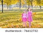 Two Girls In Autumn Park