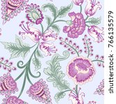 seamless pattern with flowers... | Shutterstock .eps vector #766135579