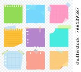 bright square colored sheets of ... | Shutterstock .eps vector #766139587