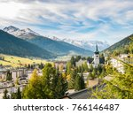 davos in autumn  fall  ... | Shutterstock . vector #766146487