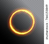 fiery circle. round neon frame. ... | Shutterstock .eps vector #766153849