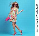 fashion. blond woman in fashion ... | Shutterstock . vector #766162489